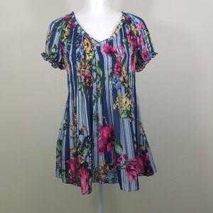 Melissa Paige Short Sleeve Floral Blouse Top L